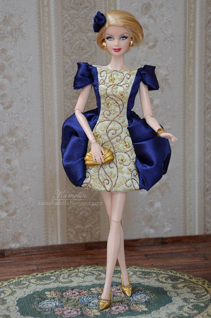 Hand embroidered dress for Barbie doll