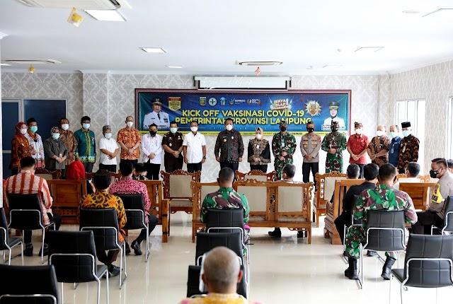 Wakapolda Lampung Menghadiri Undangan pelaksanaan Simbolis Penyuntikan Vaksin Covid-19