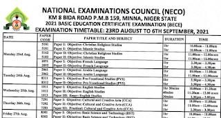 NECO BECE Timetable [23rd Aug - 6th Sept 2021] | Unity Schools