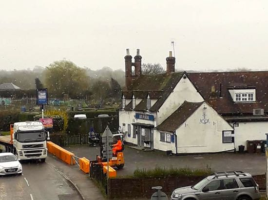Image: Blocking off the car park at the Hope and Anchor, Station Road  Image courtesy of Steve Porteous