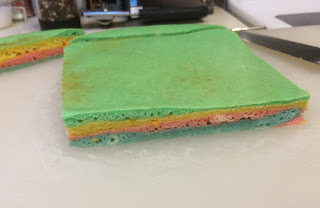 A four-layered attempt at making a sarawak style cake using pancake batter in green, yellow, pink and blue