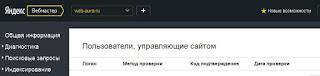 пользователи управляющие сайтом яндекс вебмастер