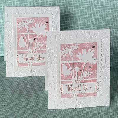 Two handmade floral Thank You cards using Stampin' Up1 Meadow Dies