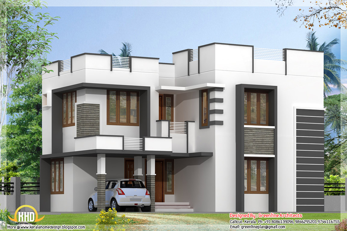 Two floor houses with 3rd floor serving as a roof deck for Home design 6