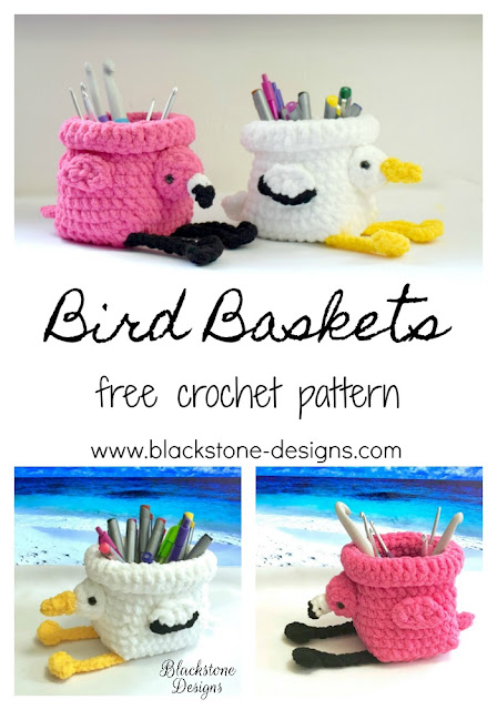 Free Crochet Pattern for Flamingo Basket and Pelican Basket from Blackstone Designs