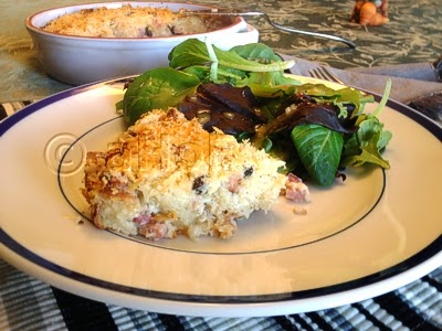 Ham & Blue Cheese Bread Pudding with a side salad