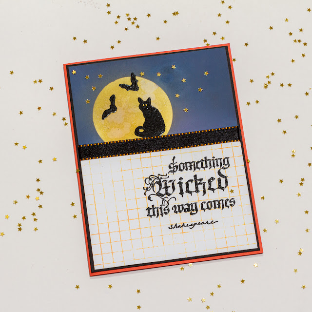 Halloween Card / Quietfire Design Grid background / Quietfire Design Something Wicked stamp set/ card design by Kim Gowdy