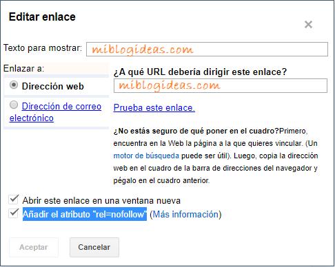 Ventana de configuración de enlaces de Blogger