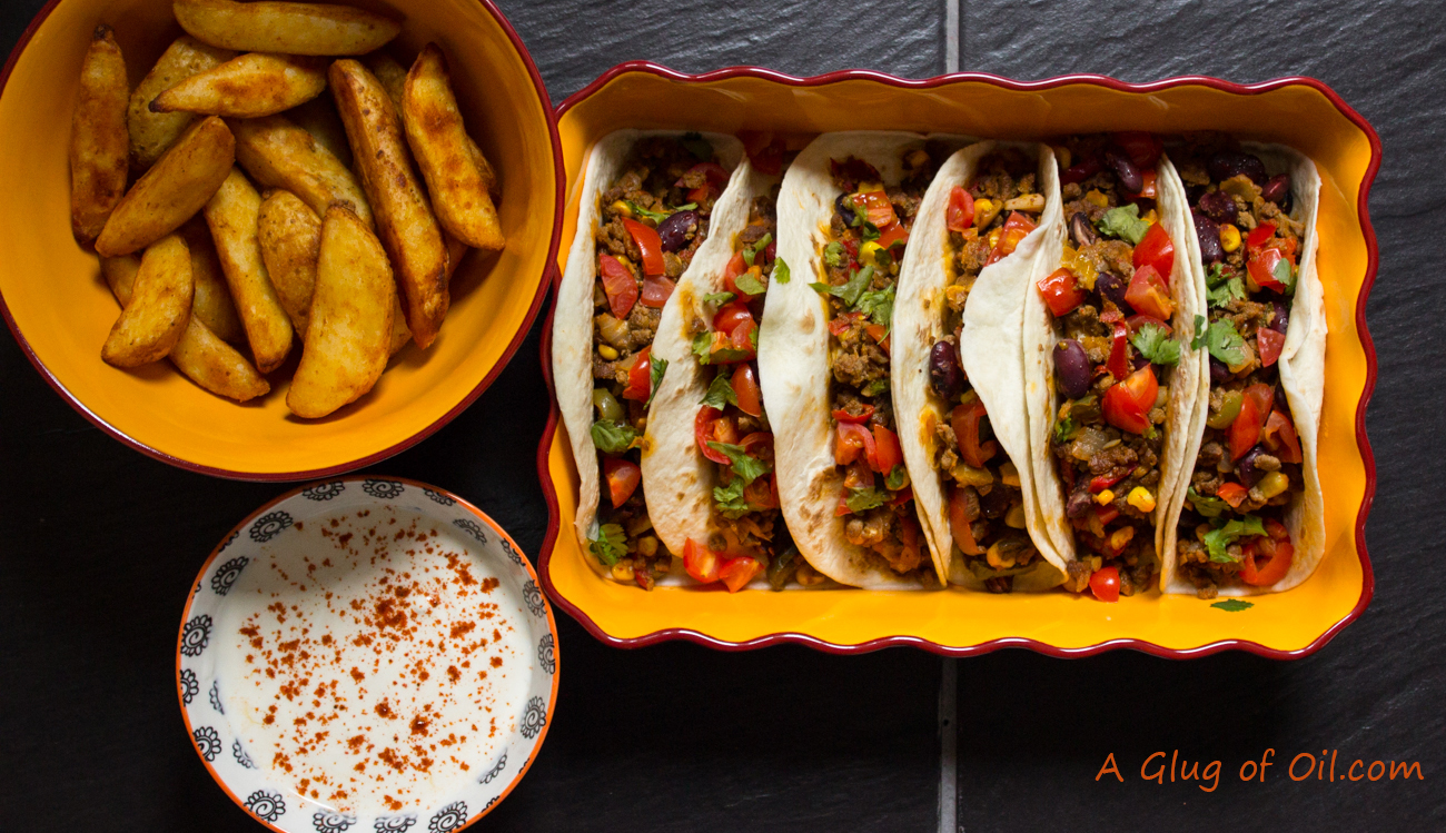 Spicy Beef and Bean Tortillas with Potato Wedges