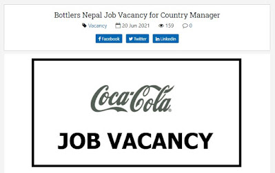 Bottlers Nepal Job Vacancy for Country Manager