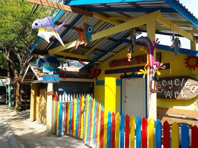 Colourful art shop in West End, Roatan Island, Honduras