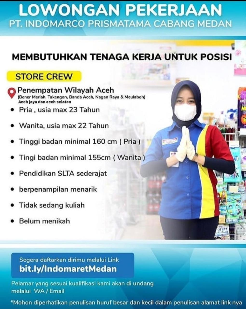 Lowongan Kerja Indomaret Lulusan Sma Penempatan 7 Wilayah Aceh