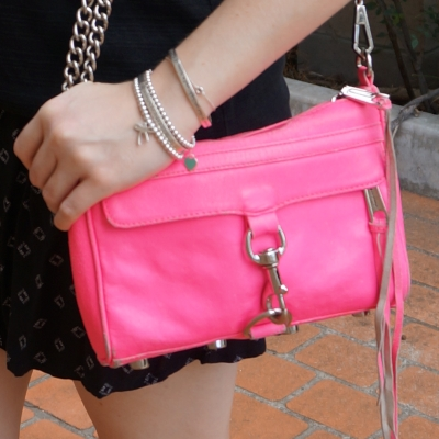 monochrome black outfit with Rebecca Minkoff neon pink mini MAC | awayfromtheblue