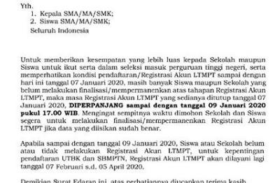 Pendaftaran Akun LTMPT 2020 Diperpanjang!