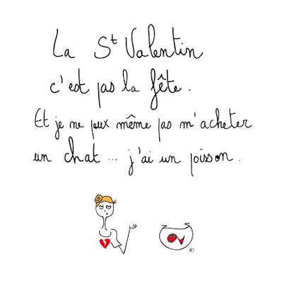 agathe, albane devouge, celibat, celibataire, chat et poisson, dessin, fête des amoureux, illustration, illustratrice, saint valentin, célibat, célibataire, être seul, solitude