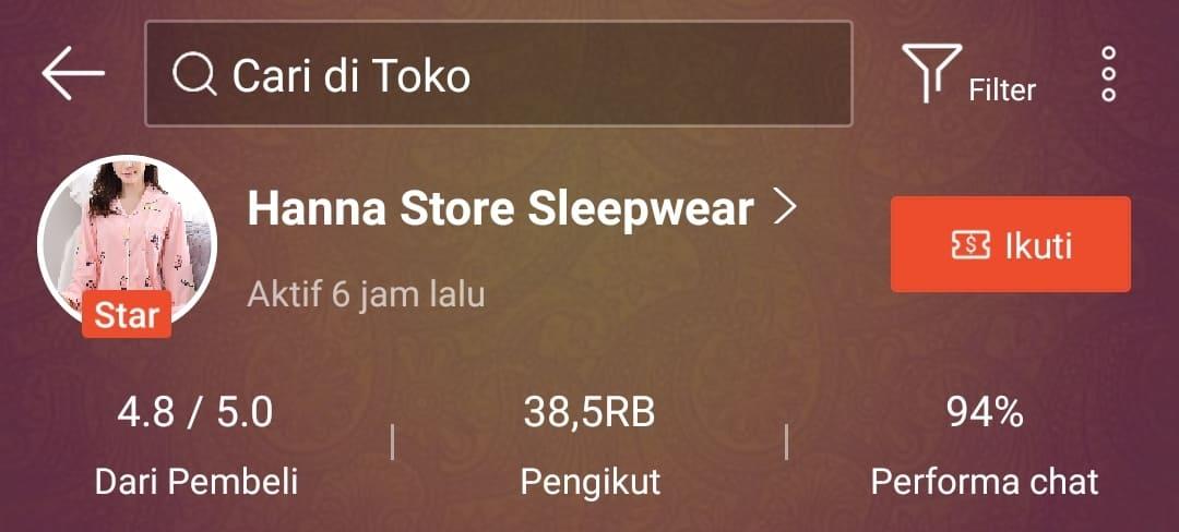 Supplier baju tidur wanita murah di Shopee