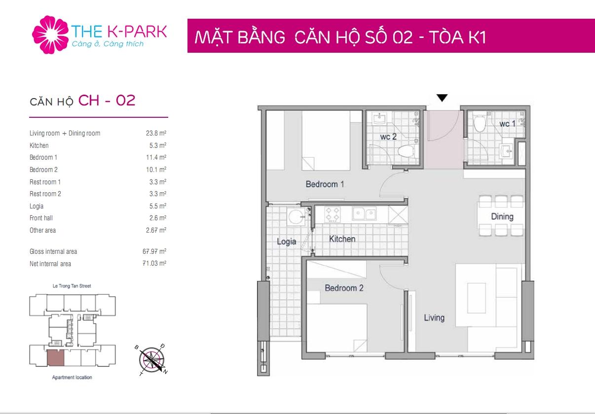 Mặt bằng căn hộ số 02- Tòa K1