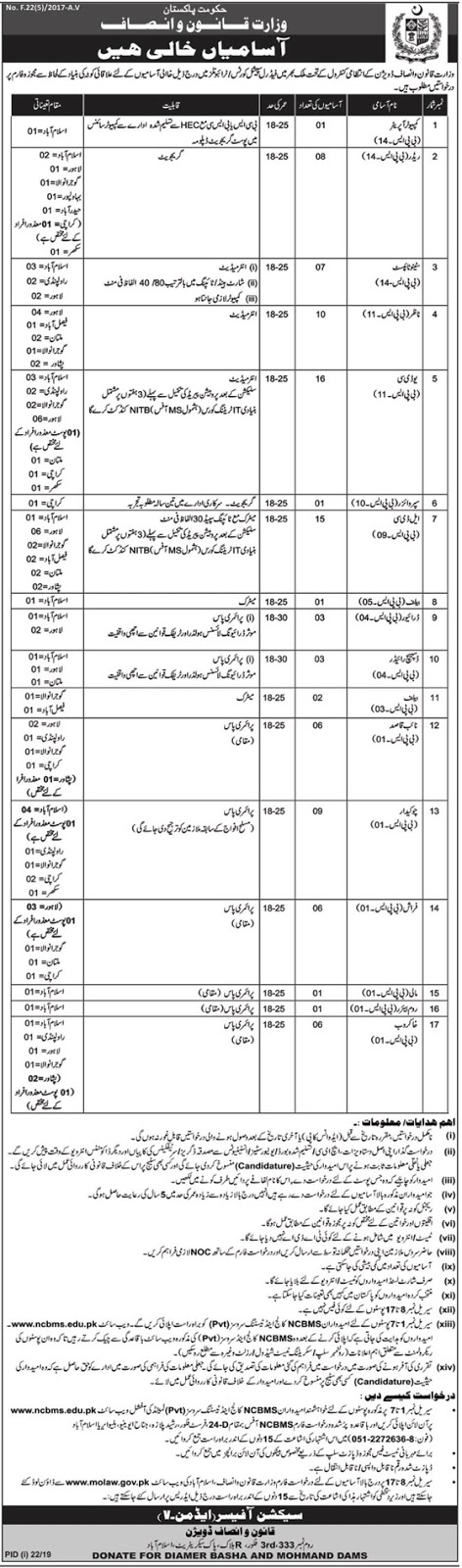 Ministry of Law & Justice 2019 for 96+ Stenographers, Computer Operators, Clerks, Supervisors