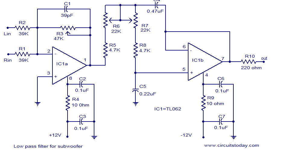 Way Active Cross Over Network Electronic Circuits And Diagram
