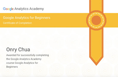 Google Analytics for Beginners Course Certificate of Onry Chua