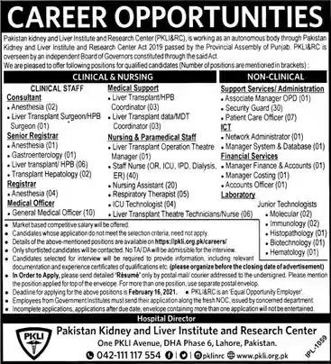 Latest Jobs in Pakistan Kidney and Liver Institute Jobs 2021