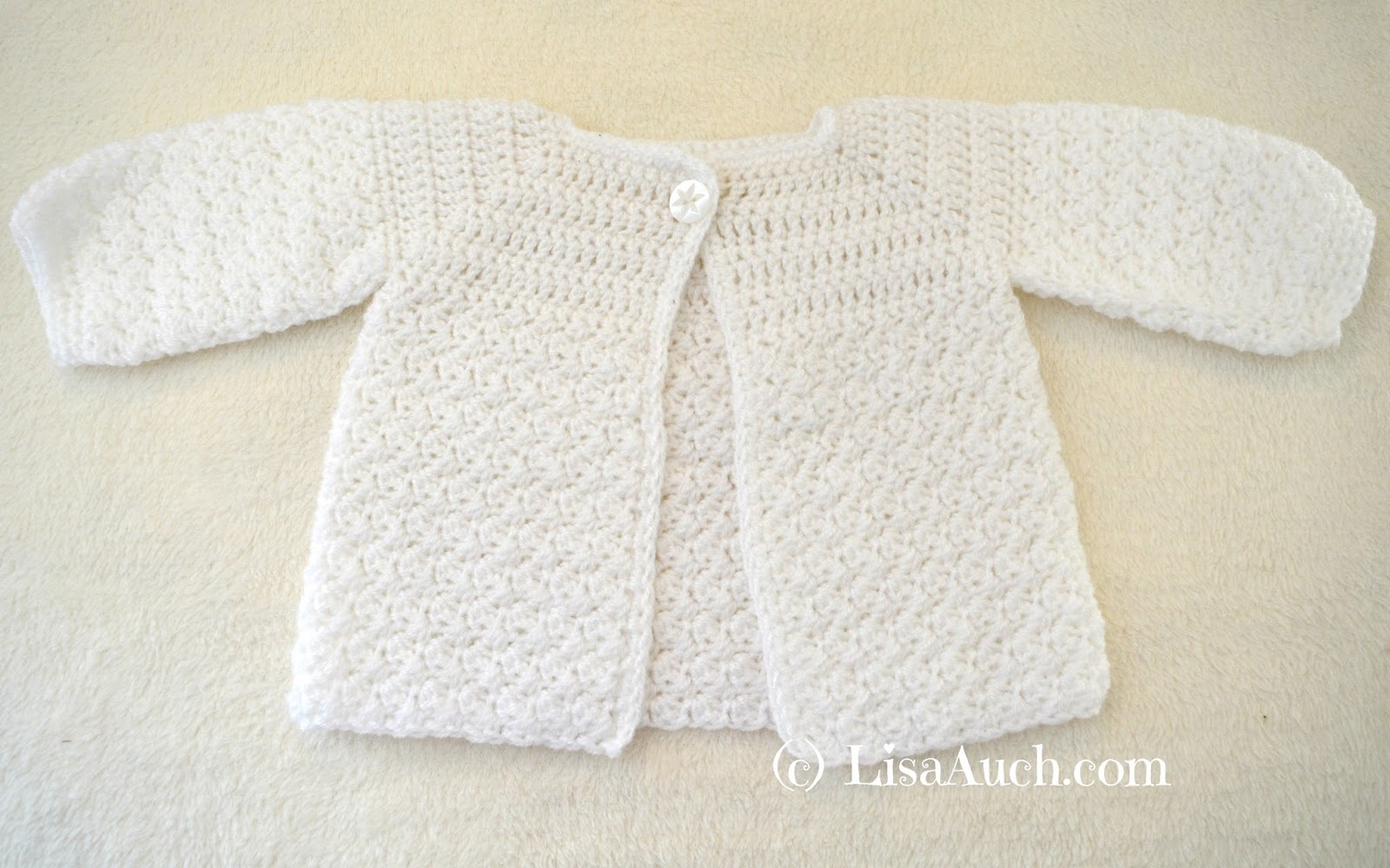Free Crochet Patterns and Designs by LisaAuch: Crochet Baby Cardigan ...