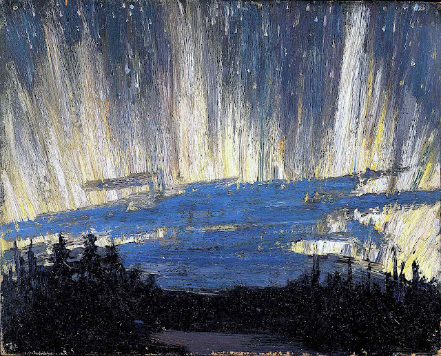 a Tom Thomson painting of the Northern lights