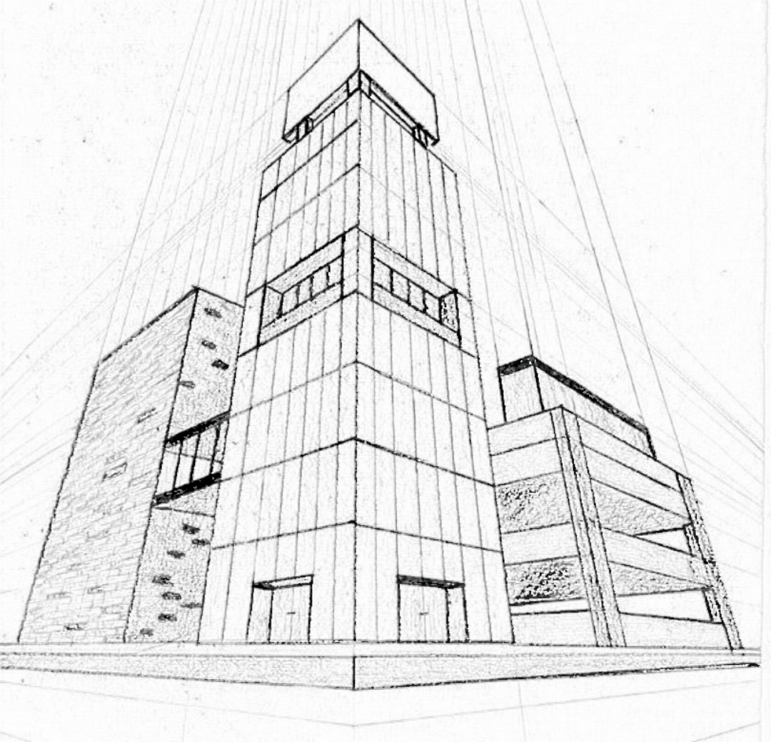 perspective drawings of buildings. A Drawing Has Two-point Perspective When It Contains Two Vanishing Points On The Horizon Line. In An Illustration, These Can Be Placed Drawings Of Buildings