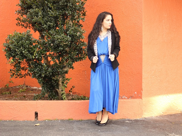 Royal Blue Ruched Vintage Dress