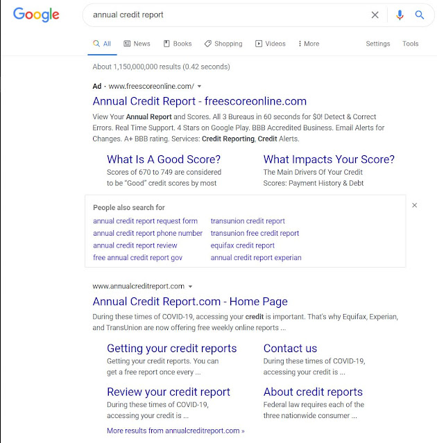 annual credit report - search results