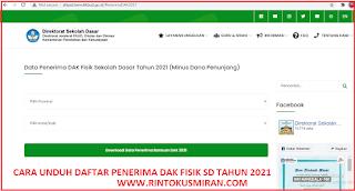 CARA UNDUH DAFTAR PENERIMA DAK FISIK SD TAHUN 2021