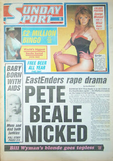 Front page of the Sunday Sport newspaper with photo of model Pauline Hickley