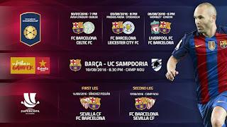 جدول نقل مباريات برشلونة 2016-2017 قبل الدورى الاسبانى BARCA