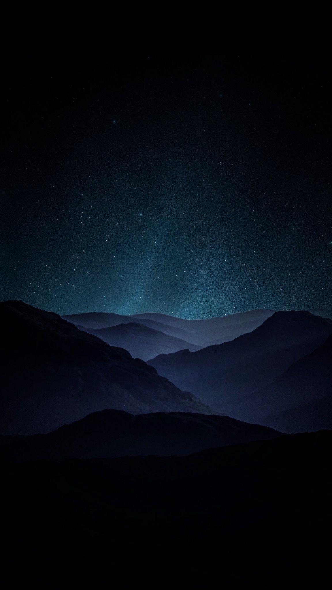 MOUNTAIN NIGHT MOUNTAINS LANDSCAPE STARS SKY