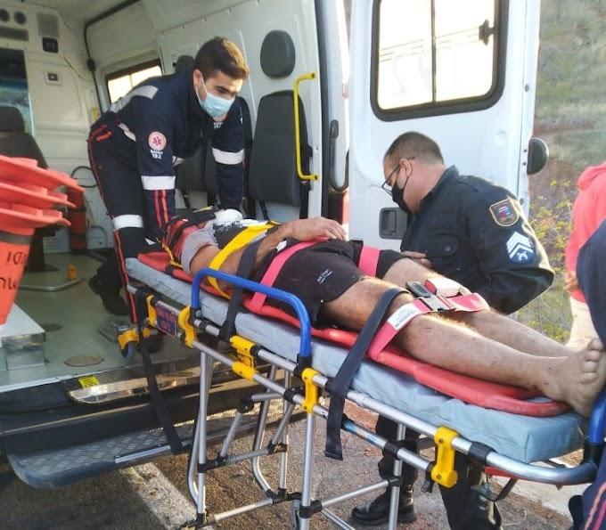 Homem fica ferido em acidente de Moto na BR 405, na Ladeira da Serra em Apodi