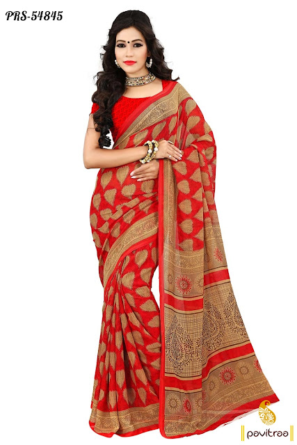 Buy online beige georgette saree for party wear and wedding wear occasion at lowest prices Surat India