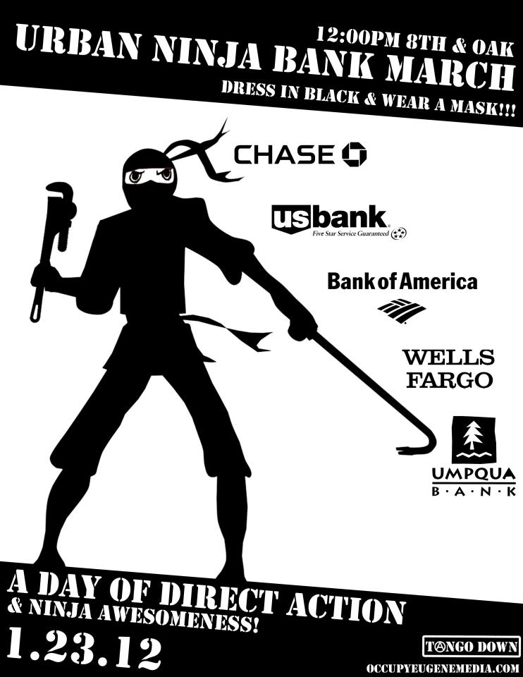 Marathon Pundit Occupy Eugene Protest Flyer Shows Ninja Armed With