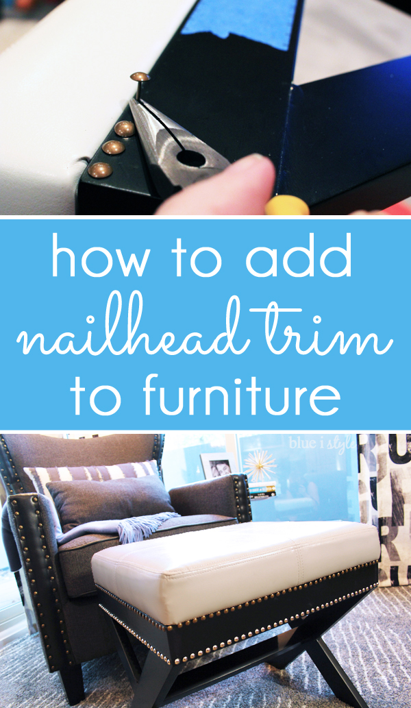 How to add nailhead trim to furniture - $10 makeover