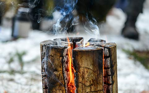 Tree stump removal by fire completely burning it