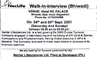 Nectar Lifesciences Ltd Recruitment 2021   ITI, Diploma, B.Sc, M.Sc, B.Tech Candidates   Walk-In-Interview