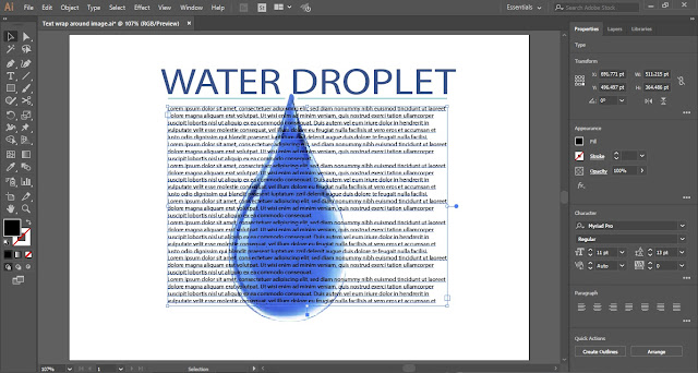 Text Wrap in Adobe Illustrator.