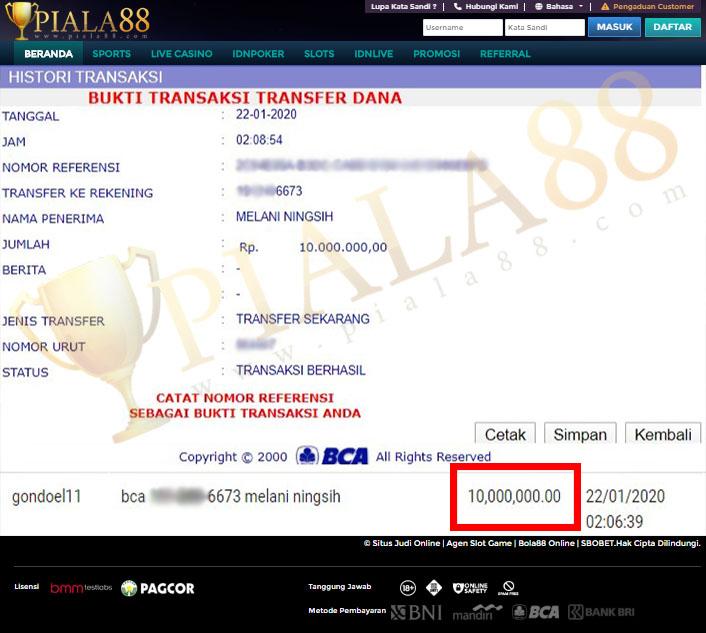 Selamat Kepada Member Setia PIALA88 Withdraw RP 10.000.000