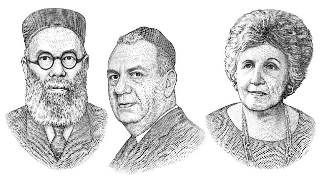 Rabbi family stipple portraits