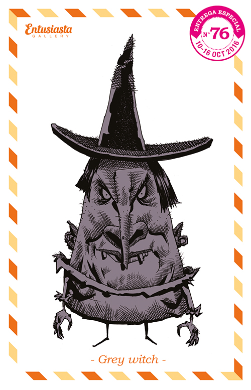 funny witch, triangle shaped, with pointy hat.