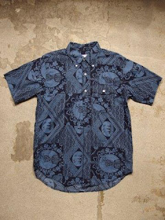"Engineered Garments ""Short Collar Shirt & Popover BD in Blue/Navy Ethnic Print"""