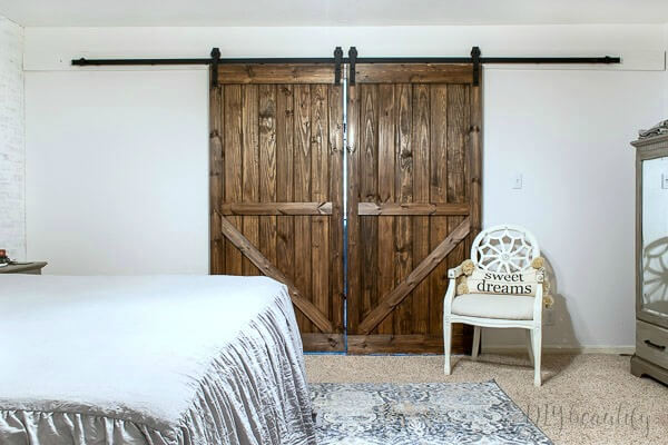 double barn doors in master bedroom
