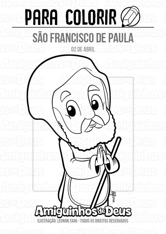 São Francisco de Paula desenho para colorir