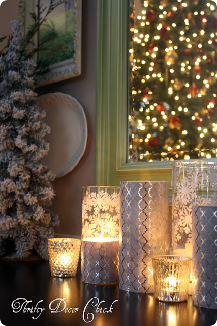 Dressing up plain glass candles