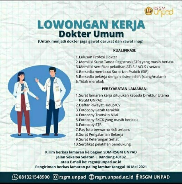 Loker Dokter RSGM UNPAD Bandung Jawa Barat