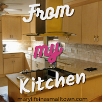 "picture of a kitchen with words ""from my kitchen"""